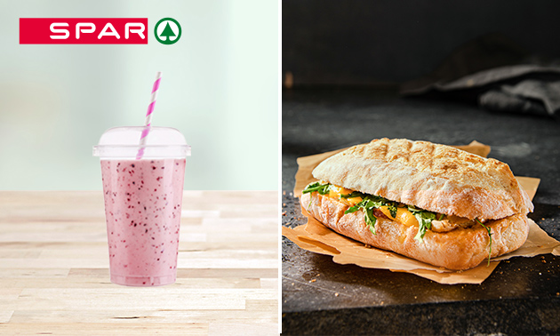 Afhalen: warm broodje + smoothie bij SPAR City