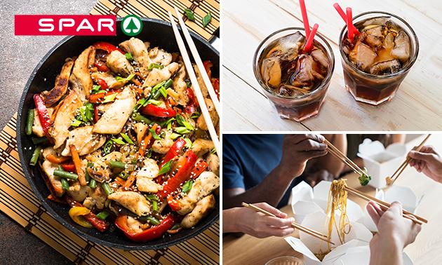 Afhalen: wok- of pastamaaltijd + frisdrank bij SPAR de Lange