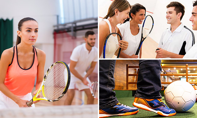 Indoor tennis, voetbal of squashen