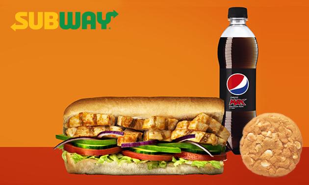 Afhalen: broodje bij Subway + frisdrank + cookie/chips