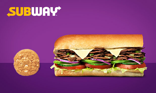 Bij Subway: 2 broodjes (15 cm) + cookie