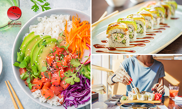 Afhalen: poké sushi bowl of sushibox (36 stuks)