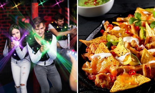 2 spellen lasergame (12 min) + nacho's, kaas en worst