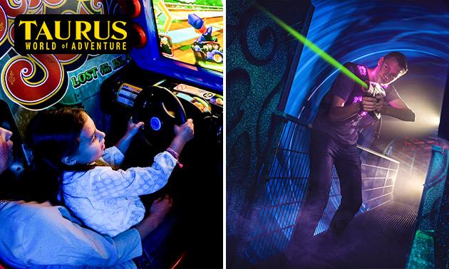 2 spellen lasergame XL + 3 Arcade Dollars