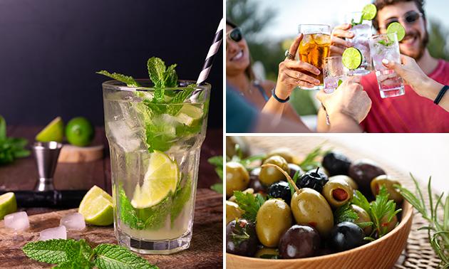 2 glazen gin-tonic + hapjes in hartje Gouda