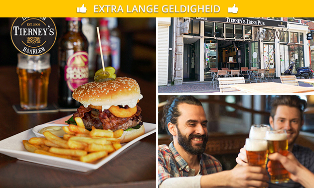 Hamburger + friet + bier/wijn bij Tierney's Irish Pub