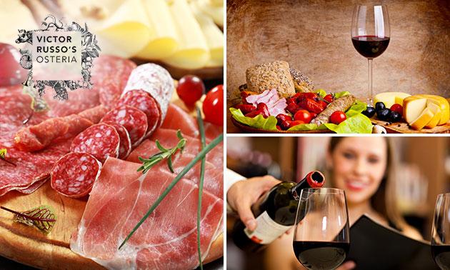Luxe borrelplank + glas wijn bij Victor Russo's Osteria