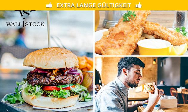 Burger naar keuze + friet bij Wall Stock 61