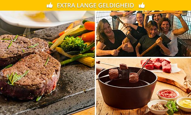 Bijlwerpen (1 uur) + All-You-Can-Eat steengrillen of fonduen