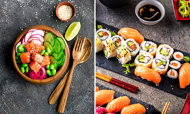 Afhalen: sushibox (24 stuks) of pokébowl