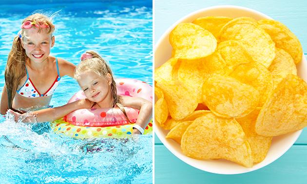 Entree zwembad + chips + ijsje