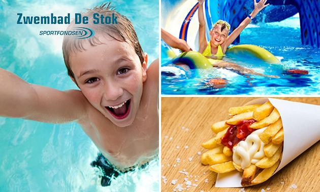 Zwemmen + friet + saus bij Zwembad De Stok
