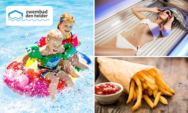 Zwemmen + friet met saus of zonnebank-sessie